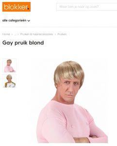 Een blonde 'gay pruik' die ophef veroorzaakt: Blokker heeft het in huis