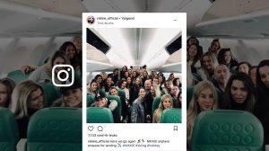 Een heel vliegtuig vol: Nikkie Plessen is met al haar medewerkers op wintersport