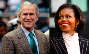 Internet dol op een knuffelende Michelle Obama en George W. Bush