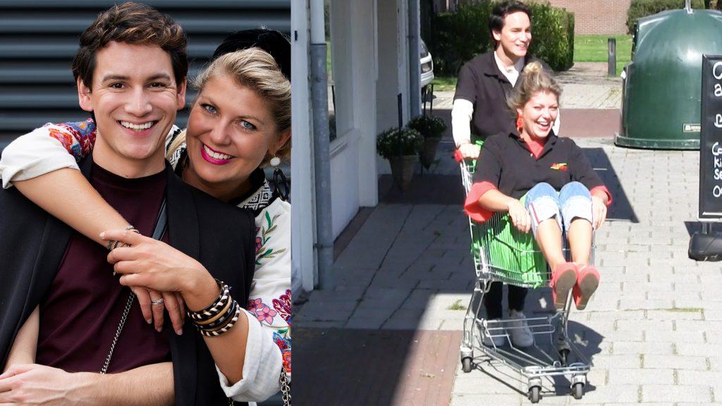 Pauline zit vast in winkelwagentje tijdens haar supermarkt-snuffelstage met Mika