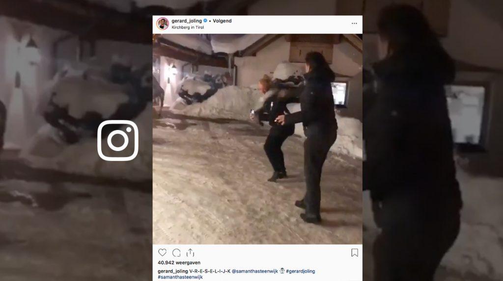 Om te gieren: Gerard Joling en Samantha Steenwijk houden sneeuwballengevecht