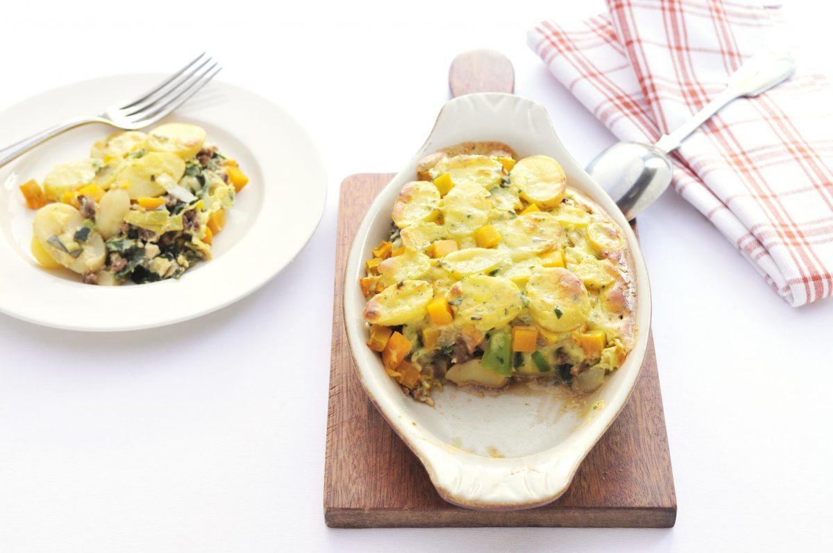 Vegetarisch gehakt met pompoen, prei en aardappel
