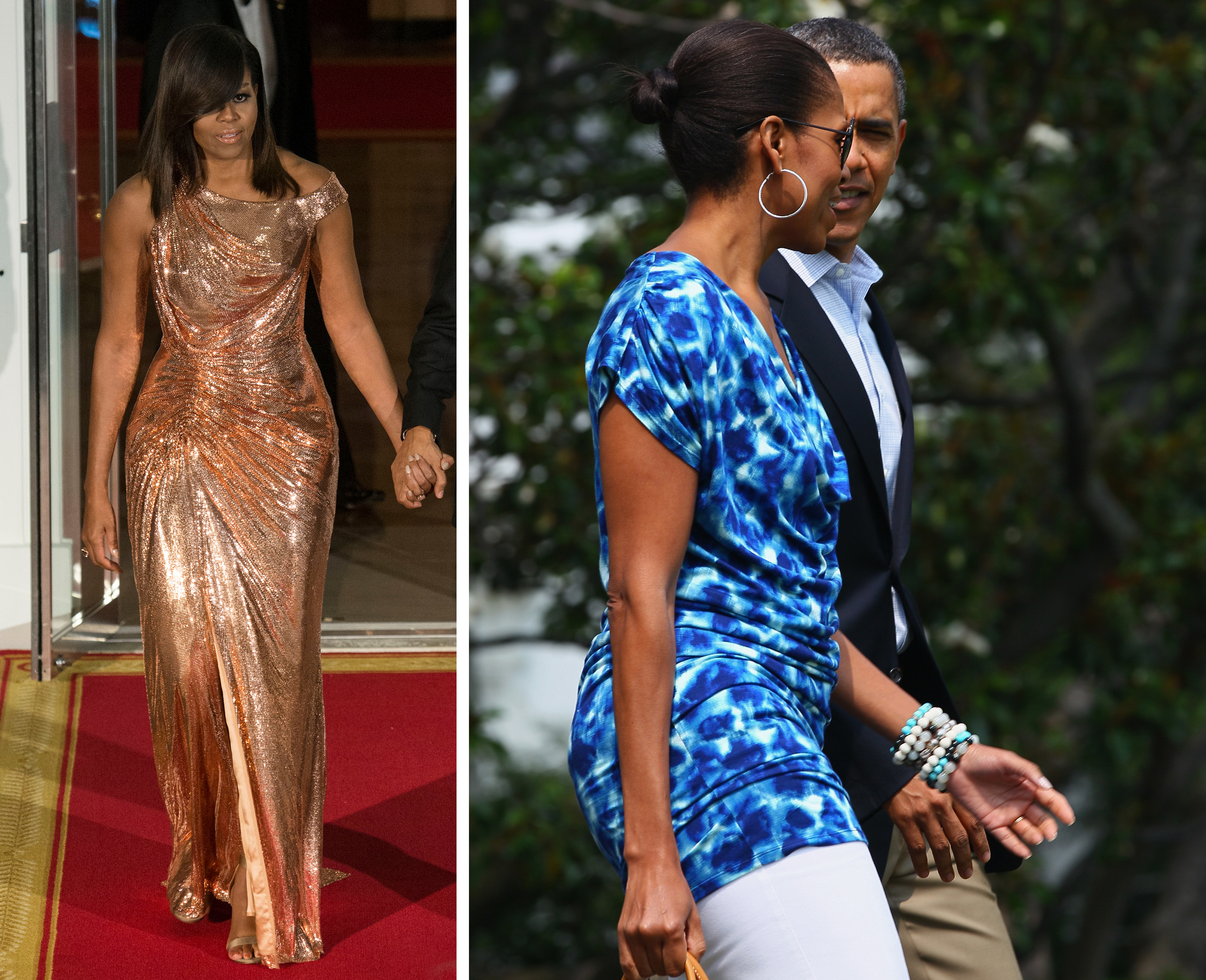 Michele obama in Versace en GAP