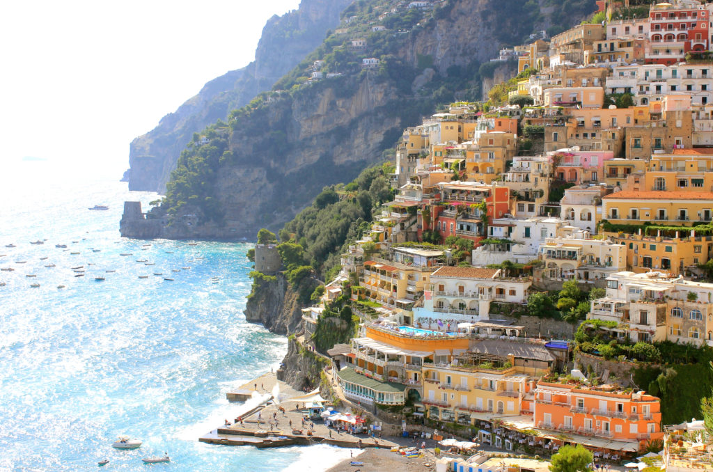 View of colourful homes in Positano, Italy.