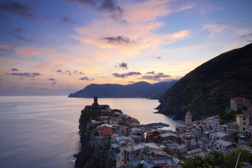 Vernazza at sunset, Cinque Terre, Liguria, Italy