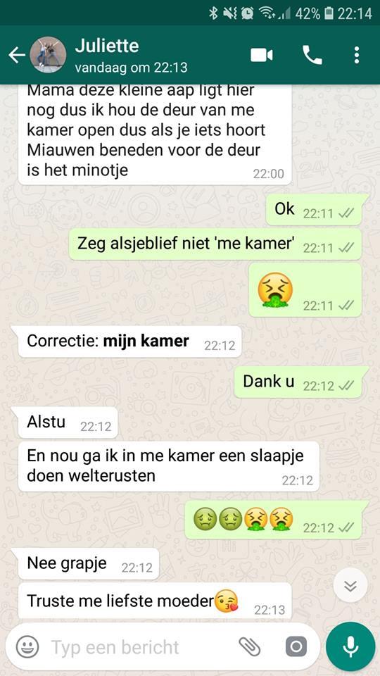 Kristel Bos whatsapp gesprek met kind