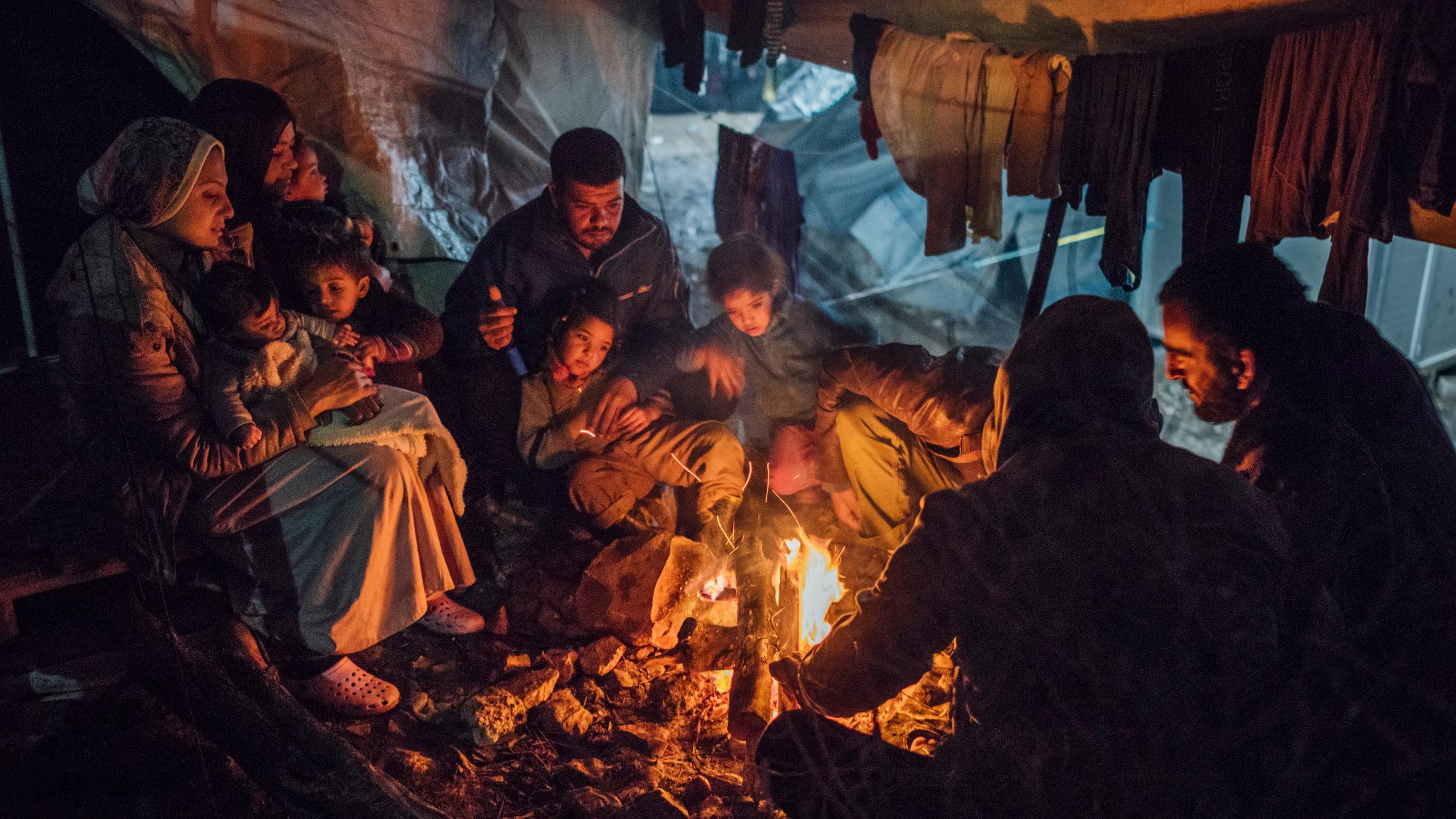 Pop-up tent Griekse vluchtelingenkamp input van Tosti Creative