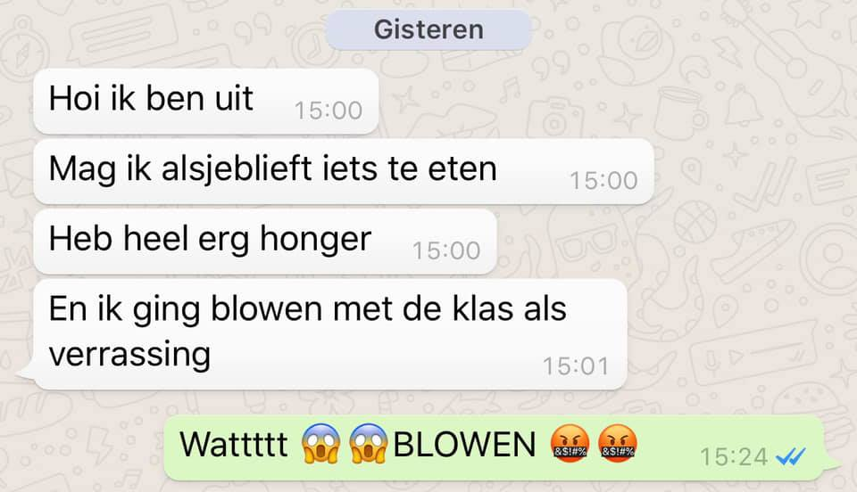WhatsAppgesprek Patricia Manni over kind die gaat blowen