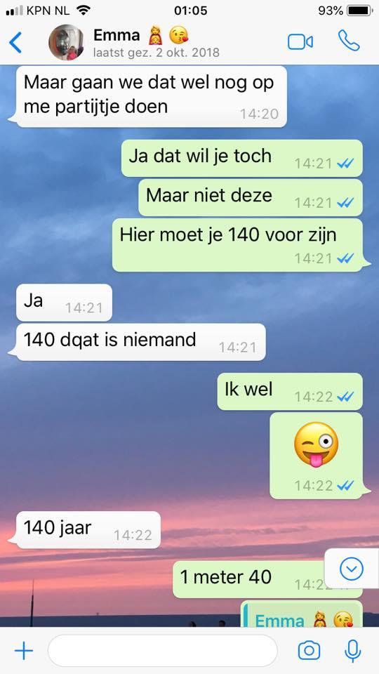 Whatsapp gesprek Kimm de Looze Oldenburg