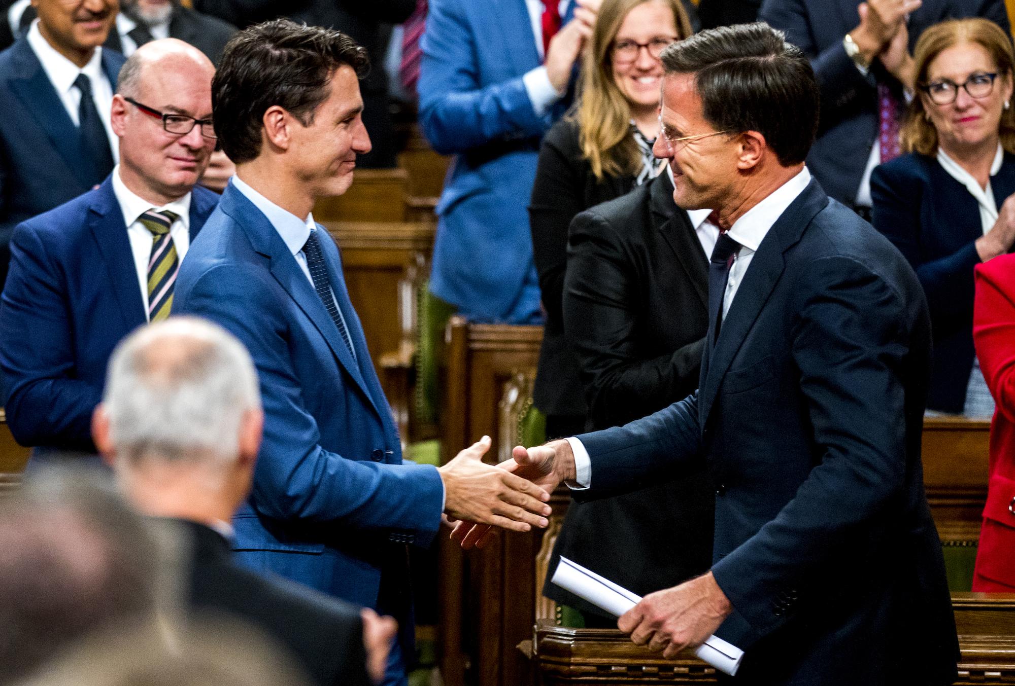 Mark Rutte en Justin Trudeau