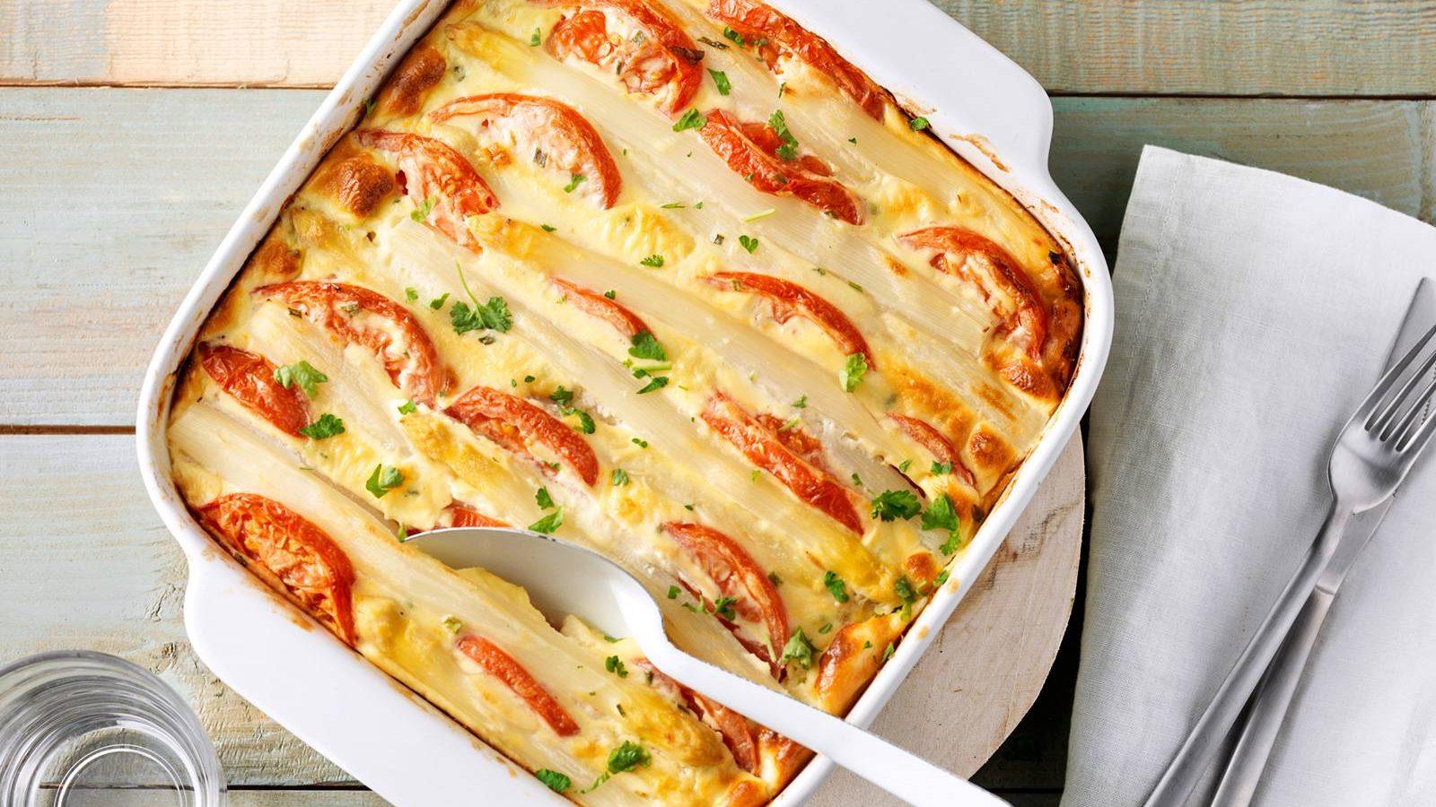 ovenschotel asperges tomaat