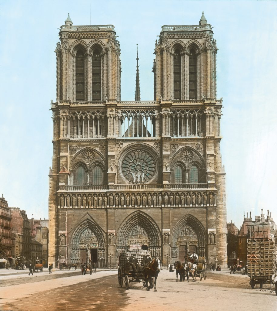 Cathedral Notre-Dame de Paris. Built from 1163 to 1345 in gothic style. Hand-colored lantern slide around 1905.