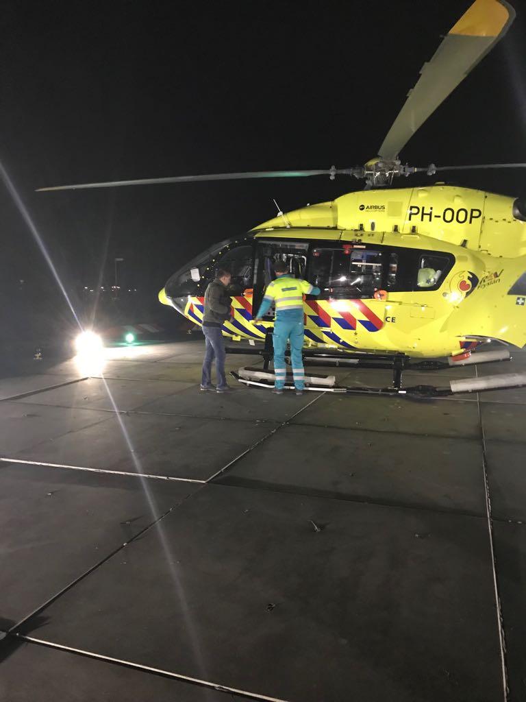 Helikopter die José naar het ziekenhuis bracht