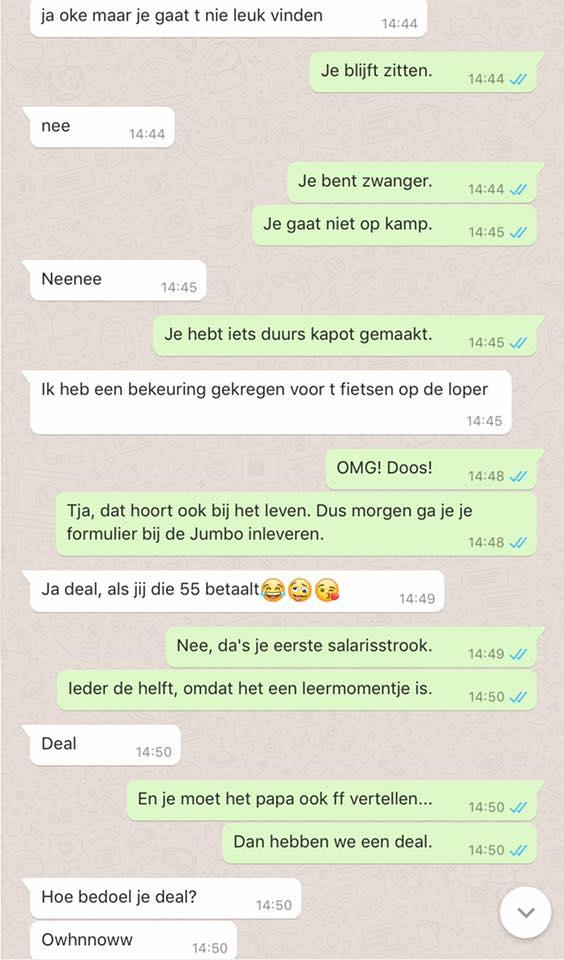 WhatsApp gesprekken met kinderen