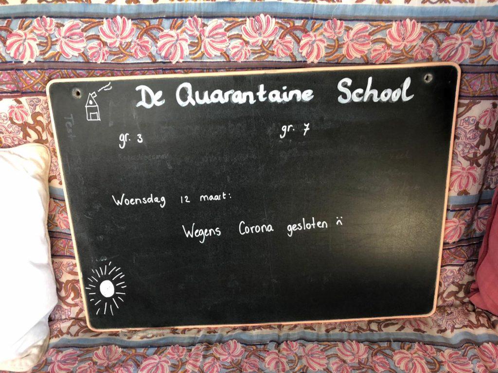 quarantaineschool gesloten dagboek sofie bord