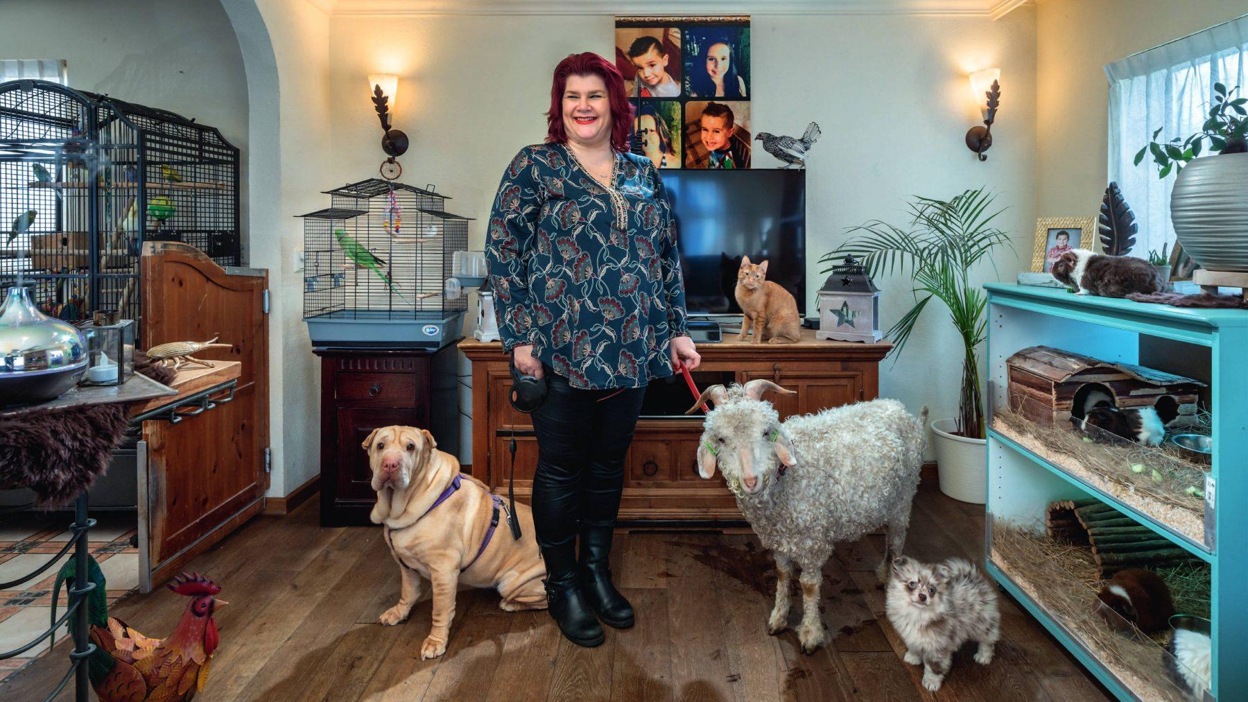 """Amanda (46) heeft 100 huisdieren: """"Zielsgelukkig met de pauw op schoot"""""""