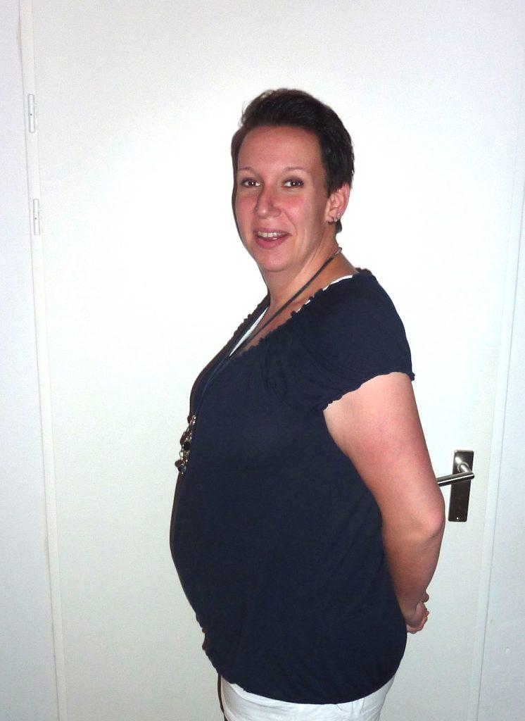 Christèl tijdens haar zwangerschap