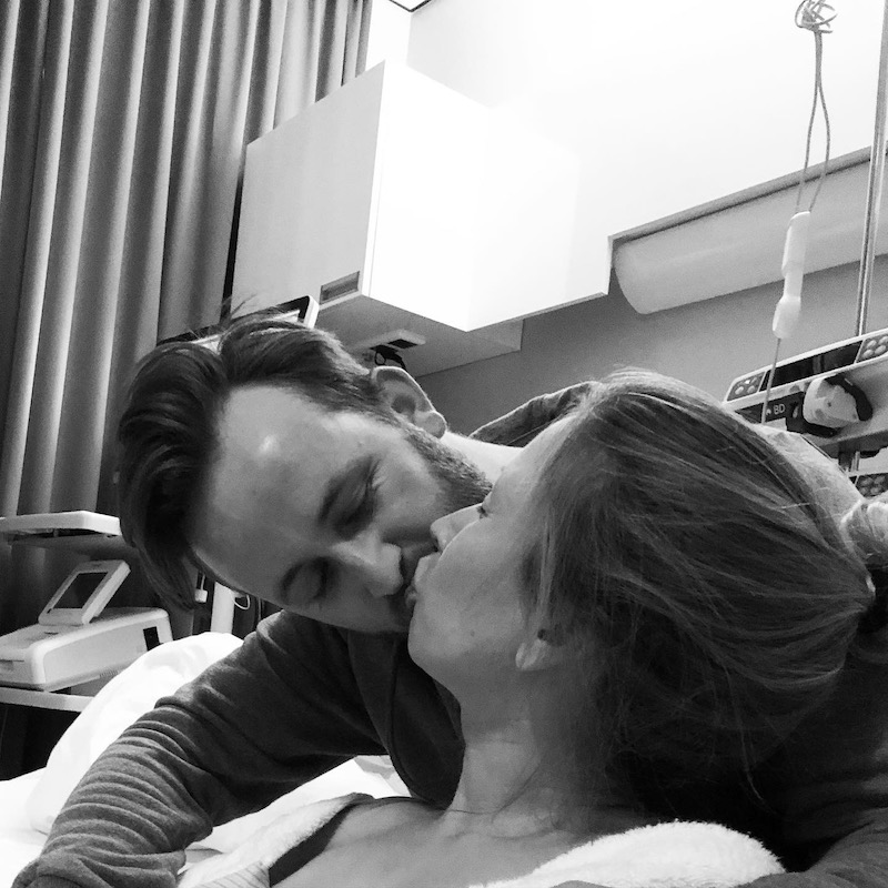 Denise en Ruben tijdens de bevalling