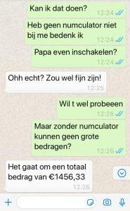 WhatsApp-fraude gesprek