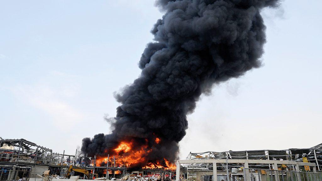Opnieuw grote brand in haven Beiroet