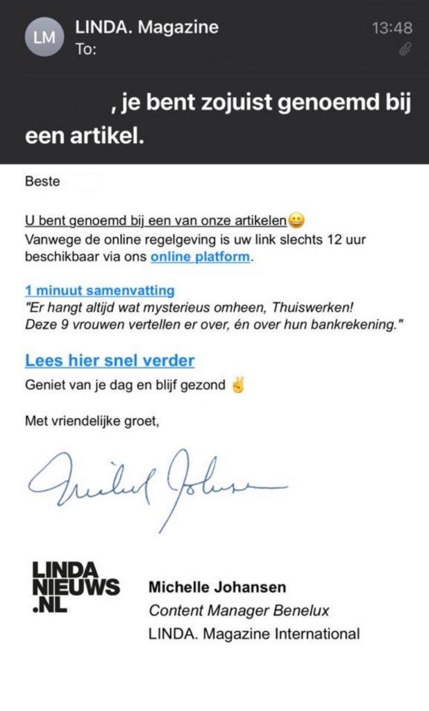 Phishing mail LINDA. voorbeeld
