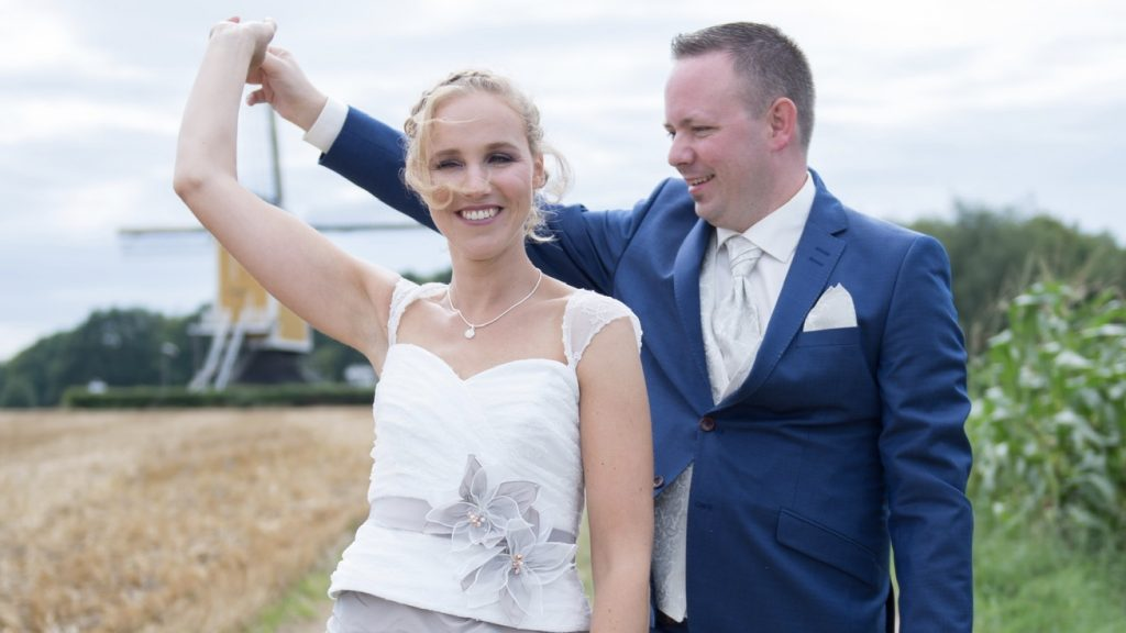 Kim en Maarten bij hun huwelijk