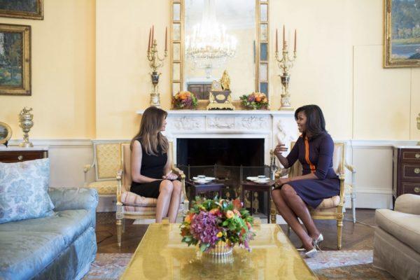 Michelle Obama ontving Melania Trump op 10 november 2016