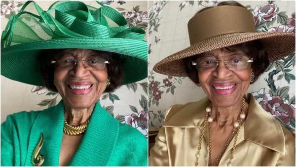 La Verne (82) steelt de show bij online kerkdienst met haar kleurrijke outfits