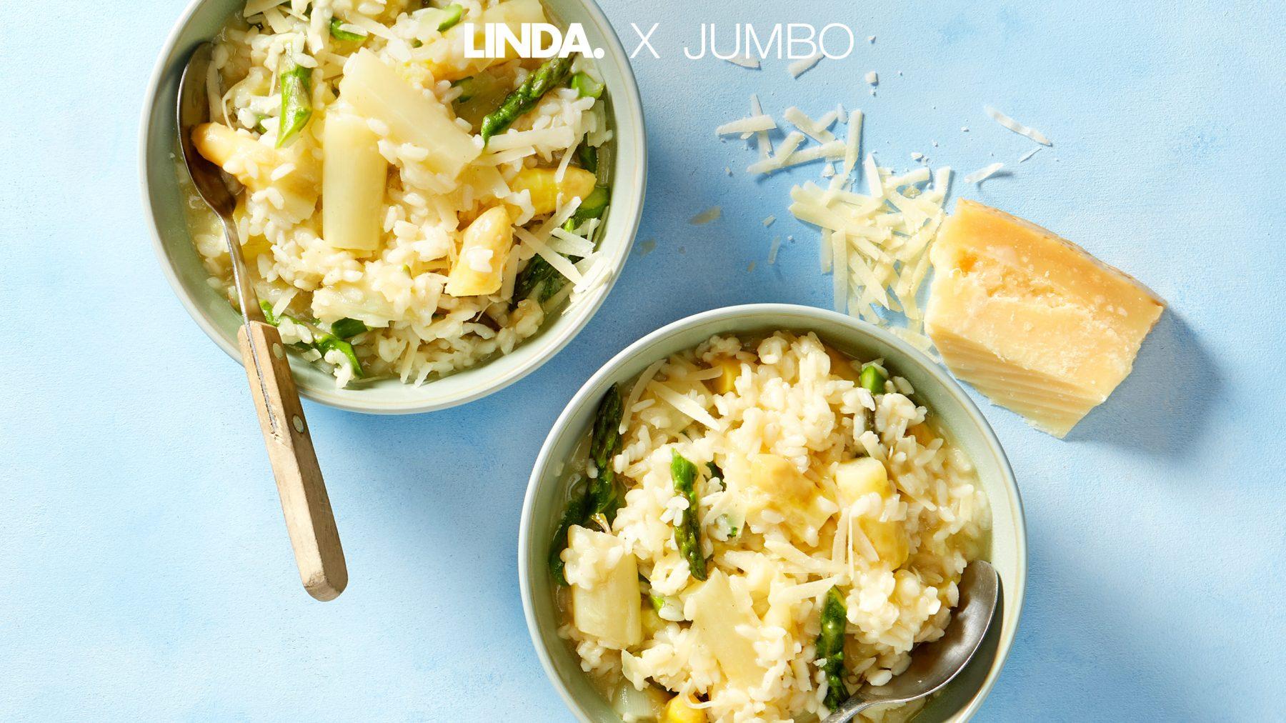 Het ultieme comfort food in de lente: risotto met witte en groene asperges