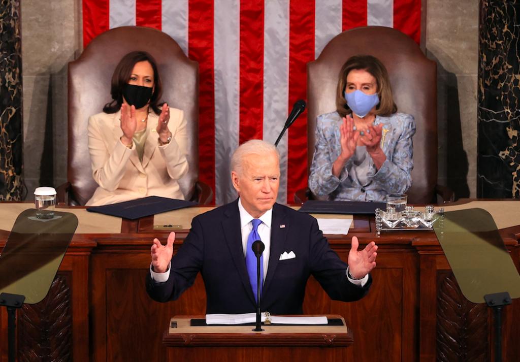 twee vrouwen achter president VS bij eerste speech Congres