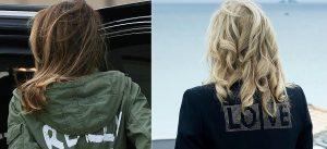 Thumbnail voor Jill Biden doet een 'Melania-tje', en draagt jas met politiek statement op de rug